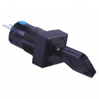 16mm Key Switch, Square, 2NO2NC 3 Position Maintain