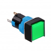 16mm Illuminated Pushbutton, Square, 1NO1NC Latching