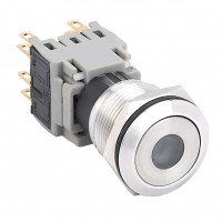 19mm Stainless Steel Pushbutton with Dot Illumination, 1NO1NC Latching
