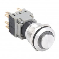 19mm Stainless Steel Pushbutton with Ring Illumination, High Flat Round, 3NO3NC Latching