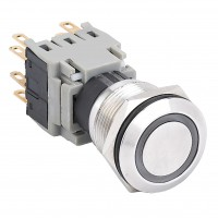 19mm Stainless Steel Pushbutton with Ring Illumination, 1NO1NC Latching