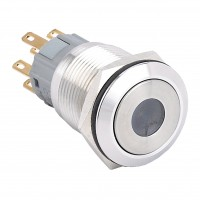 19mm Stainless Steel Pushbutton with Dot Illumination, Round, 1NO1NC Latching