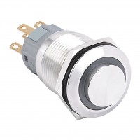 19mm Stainless Steel Pushbutton with Ring Illumination, High Round, 1NO1NC Latching