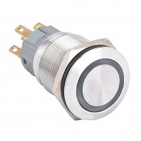 19mm Stainless Steel Pushbutton with Ring Illumination, Round, 1NO1NC Latching