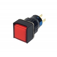 16mm Square Illuminated Pushbutton Red 1NO 1NC Momentary