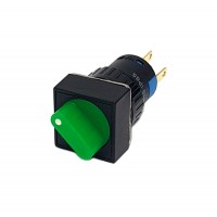 16mm Square Illuminated Selector Switch 1NO 1NC 2 Position Stay Put 90° Green