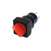 16mm Square Illuminated Selector Switch 1NO 1NC 2 Position Stay Put 90° Red