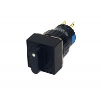 16mm Square Selector Switch 2NO 2NC 3 Position Stay Put 45°