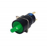 16mm Round Illuminated Selector Switch 1NO 1NC 2 Position Stay Put 90° Green