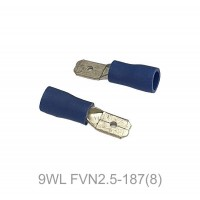 Insulated FASTON MALE Terminal Lug, 1.5 - 2.5mm² Cable Size, 16-14 AWG, BLUE 50pcs