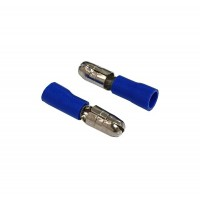 Insulated BULLET MALE Connector, 1.5mm² to 2.5mm² Cable Size, 5mm Pin Dia, 16-14 AWG, BLUE 50pcs