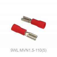Insulated FASTON FEMALE Terminal Lug, 0.5 - 1.5mm² Cable Size, 22-16 AWG, RED 50pcs
