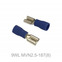 Insulated FASTON FEMALE Terminal Lug, 1.5 - 2.5mm² Cable Size, 16-14 AWG, BLUE 50pcs