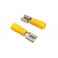 Insulated FASTON FEMALE Terminal Lug, 4 - 6mm² Cable Size, 14-12 AWG, YELLOW 20pcs