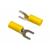 Insulated FORK Terminal Lug, 6mm² to 10mm² Cable Size, M6 Screw Size, 6-10 AWG, YELLOW 20pcs