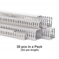 Wiring Duct or Cable Trunking, Open Slot, H25mm x W60mm x L 2M